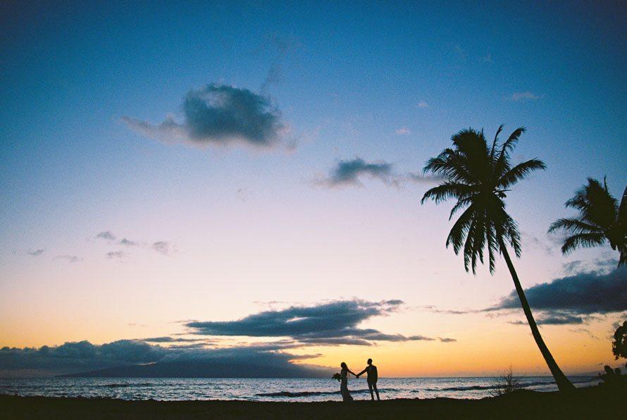 Maui sunset beach wedding