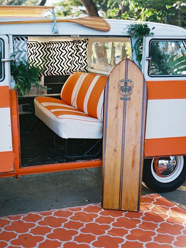 Surfboard at Maui destination wedding