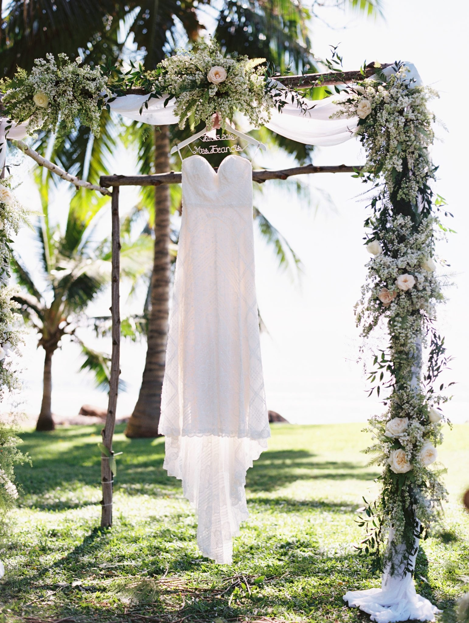 Bridal Gown and Wedding Arch in Hawaii | Maui Destination Wedding Planners | Maui's Angels