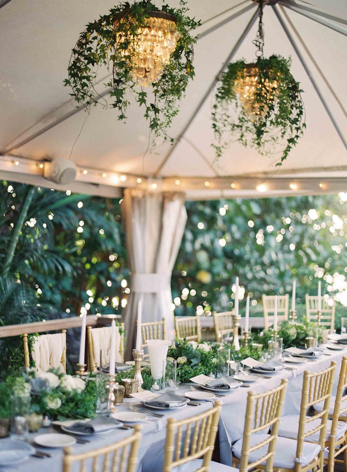 Reception tent with chandeliers | Destination Weddings in Maui | Maui's Angels