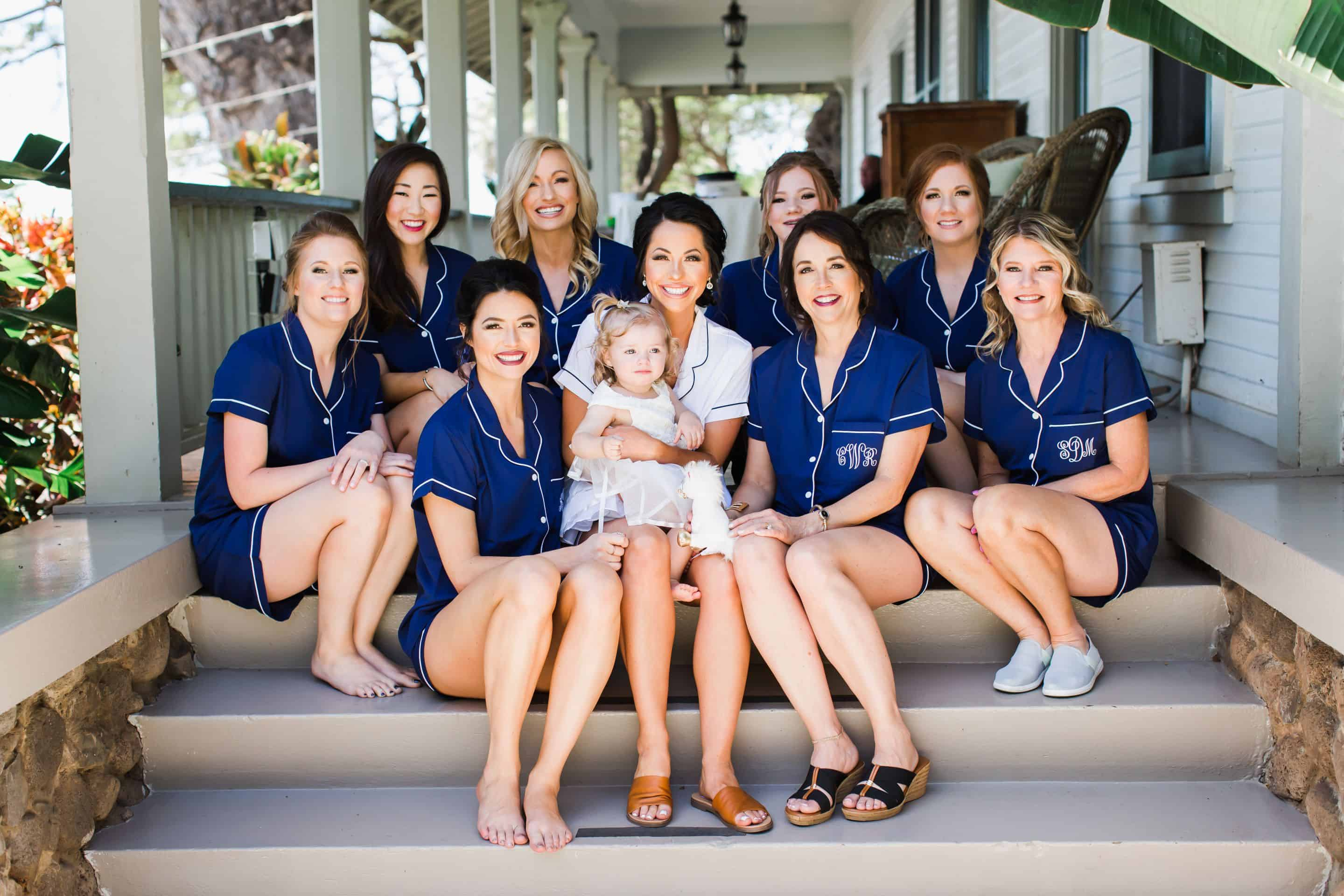 Destination bridesmaids in getting ready pj's | Maui's Angels